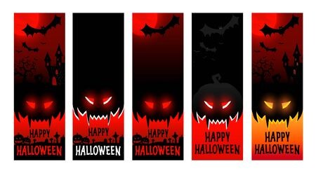 Happy halloween poster vertical mockups, halloween party festive flyer, vector illustration