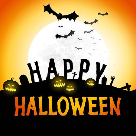 Happy halloween vector poster, background, halloween party festive banner