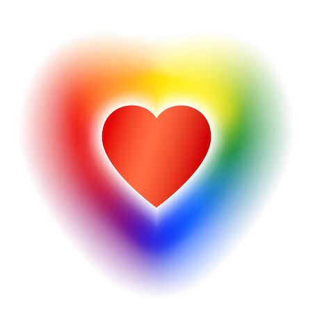 Concept coming out LGBT - heart glows with rainbow colors lgbtq. Symbol of freedom of lesbian, gay, bisexual, transgender. Coming out lgbt icon - rainbow shining heart, t shirt vector illustration Stockfoto - 134330047