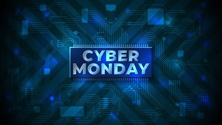 Cyber monday sale flyer. Cyber monday banner. Special offer price sign. Technology background, computer chip, motherboard. Modern vector design promotion poster, web banner