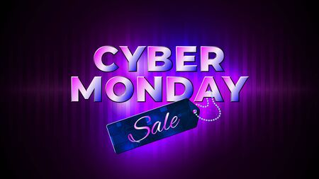 Cyber monday sale flyer. Bright cyber monday banner with sale price tag. Special offer price sign. Glowing neon background. Modern vector design promotion poster, web banner