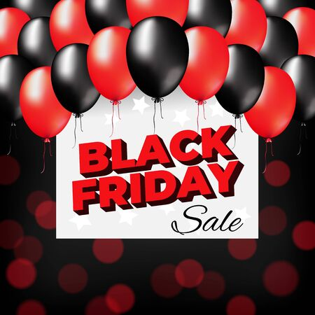 Bright black friday banner design. Black friday sale flyer. Special offer price sign. Dark and red balloons on a dark bokeh background. Web banner. Vector design promotion modern poster Stockfoto - 134330053