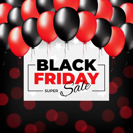Bright black friday banner design. Special offer price sign. Black friday sale flyer. Red and dark balloons on a bokeh background. Vector web banner. Design promotion modern poster