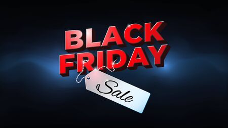 Black friday sale banner. Special offer price sign. Bright black friday flyer with sale price tag. Dark background, blue electric glow. Web banner, vector design promotion poster