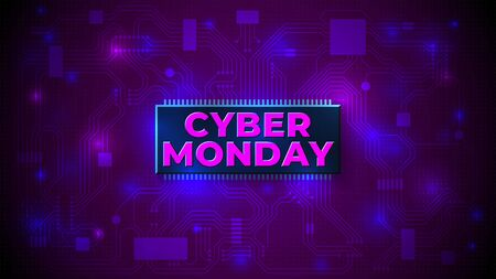 Bright cyber monday banner. Cyber monday sale flyer. Special offer price sign. Modern vector design promotion poster, web banner. Technology neon background Stockfoto - 134402634