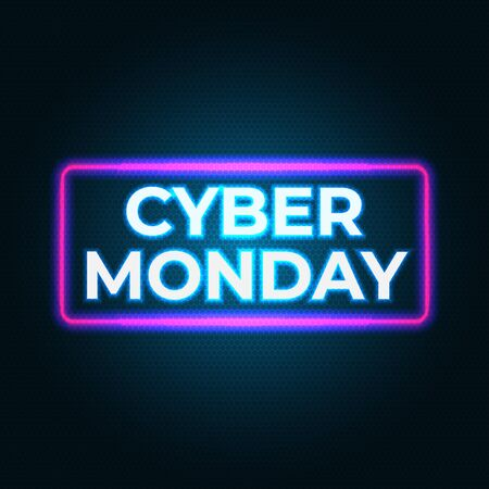Bright cyber monday banner. Special offer price sign. Modern vector design promotion poster, web banner. Cyber monday neon flyer. Neon background