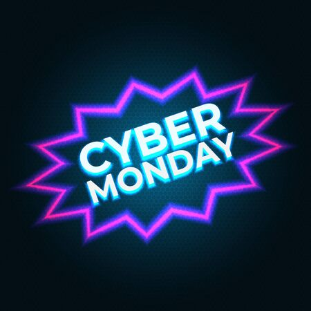 Bright cyber monday banner. Modern vector design promotion poster, web banner. Cyber monday neon flyer. Neon background
