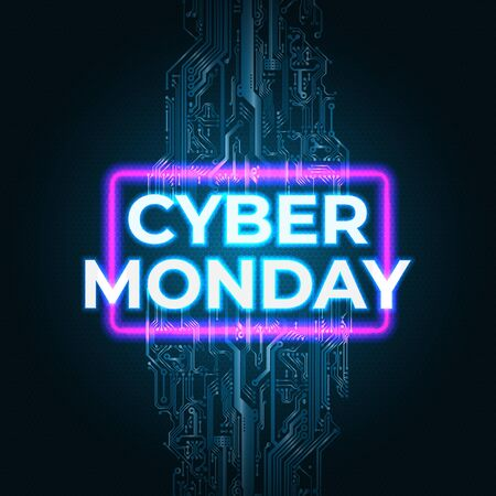 Bright neon cyber monday banner. Cyber monday sale flyer. Modern technology vector design promotion poster, web banner. Special offer price sign. Dark background with circuit board Stock Illustratie
