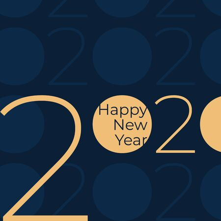 2020 Happy New Year. Party event decoration. Holiday greeting card. Golden 2020 on dark blue background. New Year design for calendar, invitation, greeting card. Vector illustration