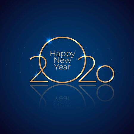 New Year 2020. Holiday greeting card. Shiny golden 2020 on dark blue background. New Year design for invitation, calendar, greeting card. Shiny gold logo. Party event decoration. Vector illustration Stock Illustratie
