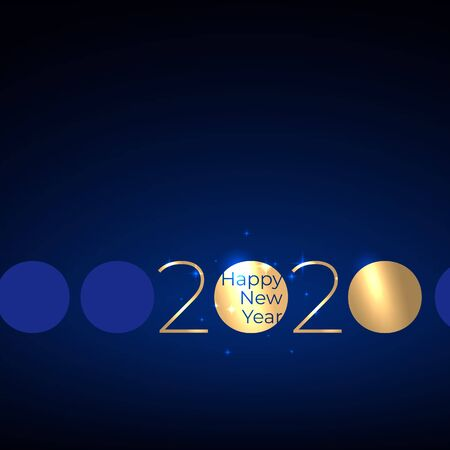 Happy New Year 2020. Party event decoration. Shiny golden 2020 on dark blue background. Holiday greeting card. Shiny gold. New Year design for invitation, greeting card, calendar. Vector illustration Stock Illustratie