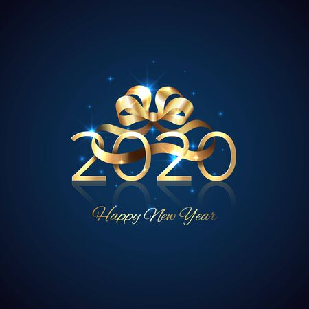 2020 New Year. Shiny golden 2020 with ribbon bow on blue background. Holiday greeting card. New Year design for invitation, calendar, greeting card. Shiny gold logo. Party event decoration, vector