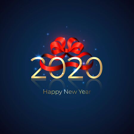 2020 New Year. Shiny golden 2020 with red ribbon bow on blue background. New Year design for invitation, calendar, greeting card. Shiny golden numbers. Party event decoration, vector holiday card