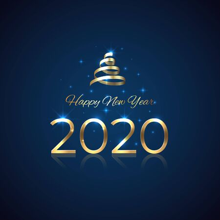 2020 New Year. Shiny golden 2020 with ribbon on blue background. Shiny gold logo. Holiday greeting card. Party event decoration. New Year design for invitation, greeting card, calendar, vector