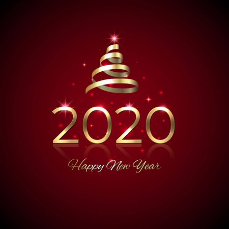 New Year 2020. Shiny golden 2020 with ribbon on red background. New Year design for invitation, greeting card, calendar. Party event decoration. Shiny gold logo. Holiday greeting card, vector Stock Illustratie