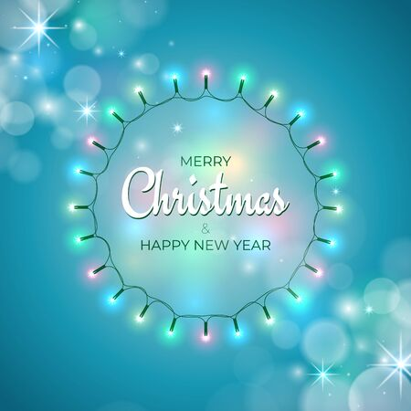 Colourful christmas lights. Wreath of glowing xmas garland. Merry Christmas and happy new year holiday greeting card. Glowing lights on blue background. Vector holiday xmas party banner design Stock Illustratie