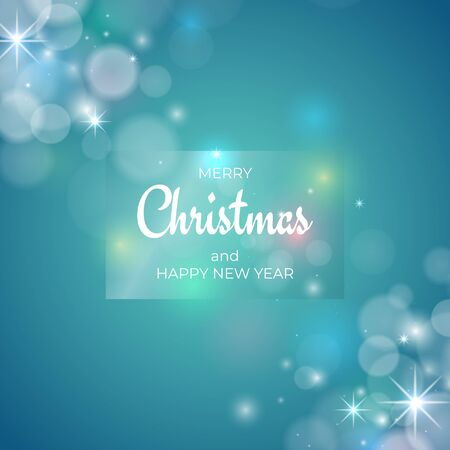 Merry Christmas and happy new year holiday greeting card. Merry Christmas lettering in frame. Colourful xmas glowing lights, bokeh on blue background. Vector holiday xmas party banner design
