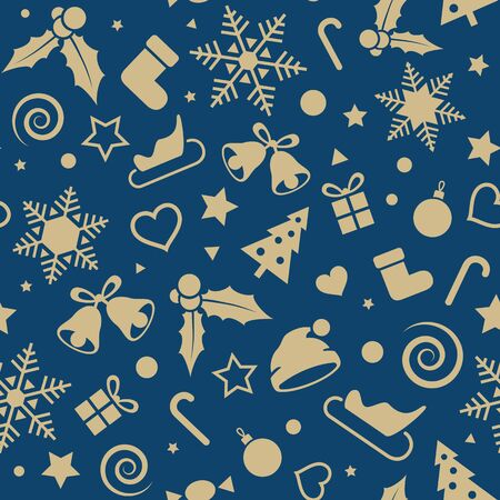 Christmas and New Year seamless pattern. Gift wrapping paper. Vector xmas background Stock Illustratie