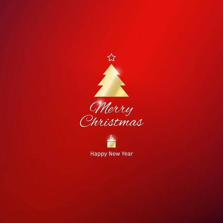 Christmas and New Year greeting card with red background. Golden xmas tree and gift box. Flat design, vector illustration Stock Illustratie