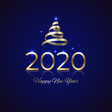 2020 New Year. Shiny golden 2020 with ribbon on blue background. New Year design for invitation, greeting card, calendar. Shiny gold logo. Holiday greeting card. Party event decoration, vector
