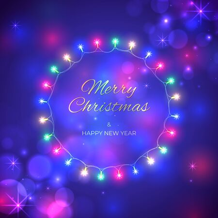 Merry Christmas and happy new year holiday greeting card. Colourful christmas lights. Glowing lights on dark blue background. Wreath of glowing xmas garland. Vector holiday xmas party banner design Stock Illustratie