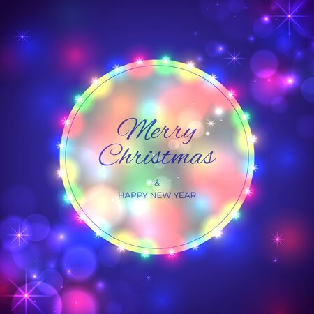 Merry Christmas and happy new year holiday greeting card. Colourful christmas lights on blue background. Glowing xmas garland. Holiday new year party banner. Vector xmas poster design
