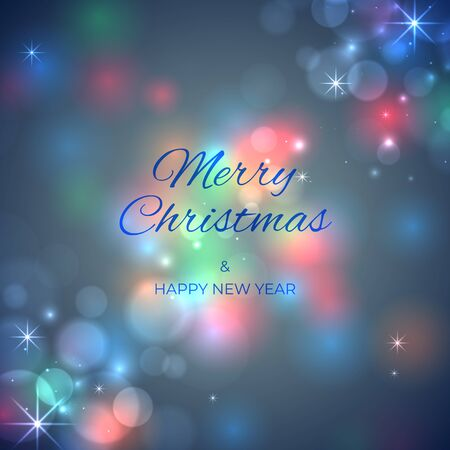 Merry Christmas and happy new year holiday banner. Soft blurred bokeh holiday background. Colourful christmas lights. Glowing lights on blue background. Vector xmas party, greeting card design Stock Illustratie