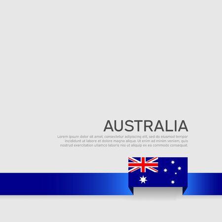 Australia flag background. Ribbon color flag of australia on a white background. National poster. Vector flat design. State australian banner, cover