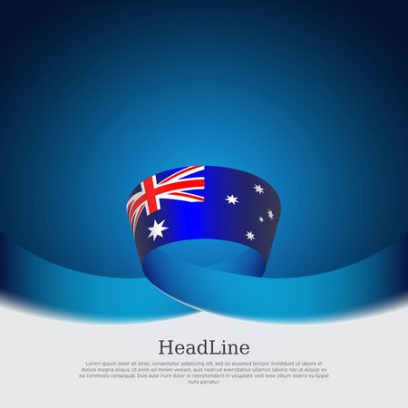 Australia flag background. Wavy ribbon in the color of the australian flag on a blue white background. National poster. Vector tricolor design. State australian patriotic banner, cover, flyer