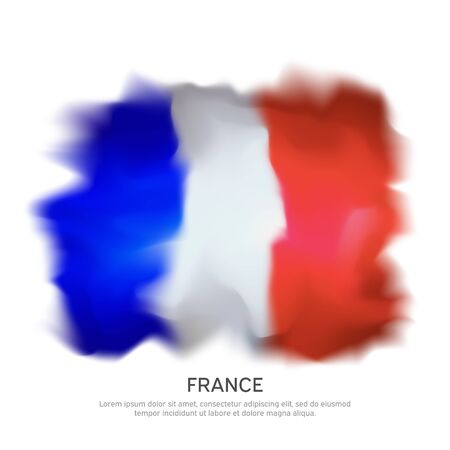 Abstract france flag isolated on white background for celebration design. French patriotic vector pattern, template. Graphic abstract background. Watercolor drawing. French flag banner design