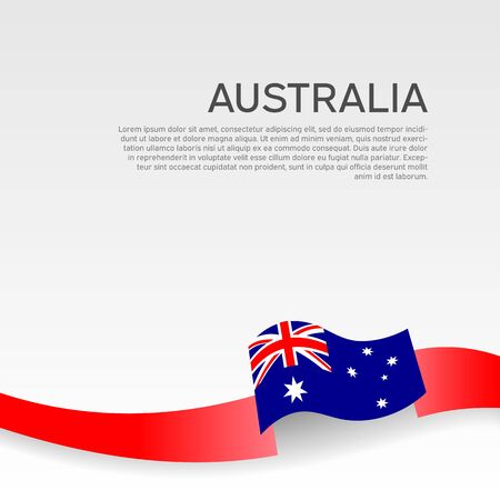 Australia flag background. Wavy ribbon color flag of australia on a white background. National poster. Vector patriotic design. State australian banner, flyer
