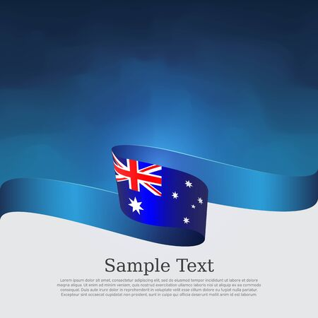 Australia flag background. Wavy ribbon in the color of the australian flag on a blue white background. National poster. Vector flyer design. January 26th australia day banner, cover