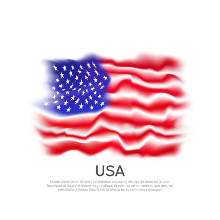 USA flag background. Abstract flag of usa on a white background. National american poster. Vector grunge design. State american patriotic banner, cover