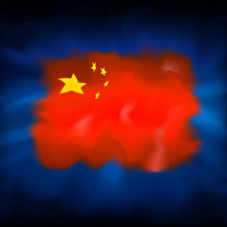 China abstract flag on blue sky background for creative design. Chinese new year january 25. Graphic abstract blurred watercolor background. China flag banner design. Chinese patriotic vector, template