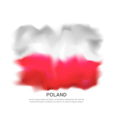 Abstract poland flag for national holiday creative poster design. Polish flag on a white background. Banner design. Graphic abstract background. National polish patriotic template, vector