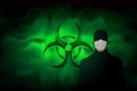 A man in a mask against the background of a biohazard sign and a poisonous dangerous haze. Contaminated green fog. Spreading smoke attack biological weapons. Vector illustration