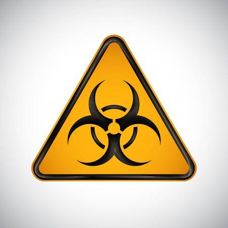 Caution biological hazard sign. Black orange warning bio hazard sign on white background. Information security biohazard vector symbol. Design protection icon, button. Science vector illustration