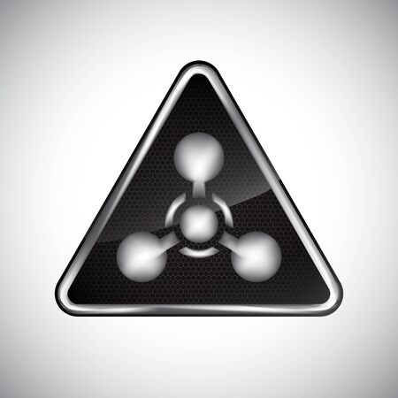 Caution chemical weapon sign. Black and white metal warning chemical weapon hazard sign on white background. Information danger vector symbol. Design protection icon, button. Vector illustration