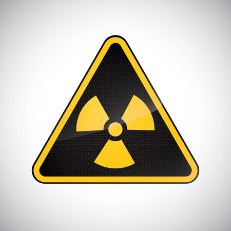 Caution radiation hazard sign. Black yellow carbon warning radiation hazard sign on white background. Information security danger vector symbol. Design protection icon, button. Science vector illustration Illusztráció