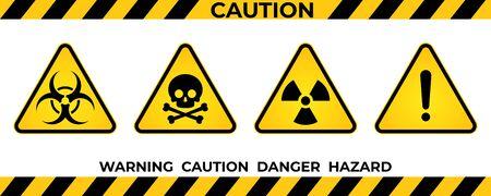 Set of hazard warning signs. Black yellow triangle warning safety and caution signs. Information hazard vector symbol, icon. Vector illustration Vektorgrafik