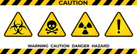 Set of hazard warning signs. Black yellow triangle warning safety and caution signs. Information hazard vector symbol, icon. Vector illustration Vetores