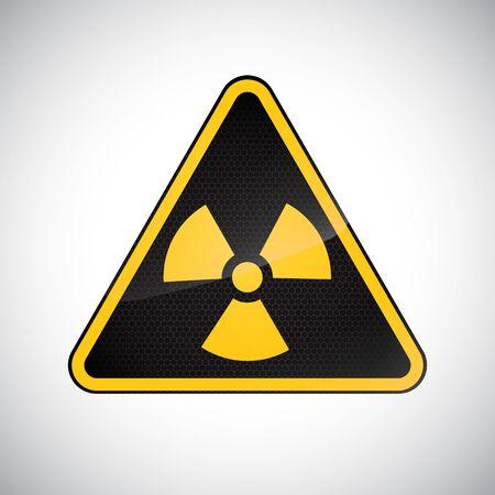 Caution radiation hazard sign. Black yellow carbon warning radiation hazard sign on white background. Design protection icon, button. Information vector symbol. Vector illustration