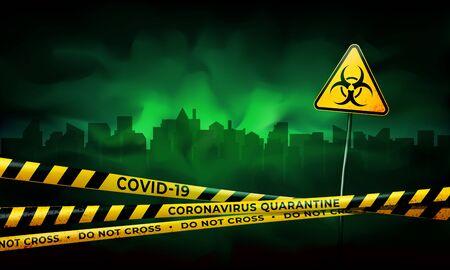Quarantined city. Coronavirus epidemic covid-19. Coronavirus quarantine warning tapes and biohazard sign. Pandemic covid-19. City in the green mist. Epidemic barrage lines. Vector grunge template Illustration