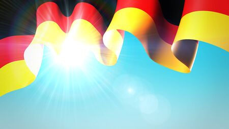 The sun shines through the waving flag of germany. Germany waving flag on blue sky for banner design. German holidays background. Festive patriotic design pattern, template. 3d illustration