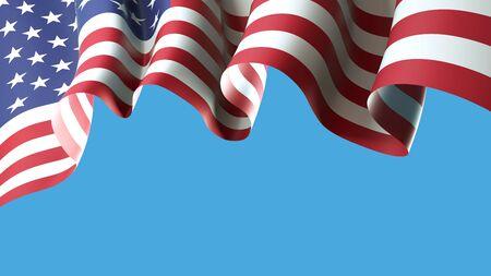 USA waving flag on blue sky for banner design. USA waving national flag isolated on blue background. Festive patriotic design pattern, template. America holidays. 3d illustration
