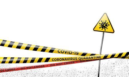 Layout of the quarantine area of coronavirus epidemic covid-19. Coronavirus quarantine warning tapes, sign of viral hazard. Pandemic covid 19. Epidemic barrage lines. Vector template isolated on white