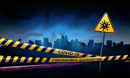 Coronavirus quarantine warning tapes and sign of viral hazard. Quarantined city. Coronavirus epidemic covid-19. Epidemic barrage lines. Pandemic covid-19. Vector grunge template Illustration
