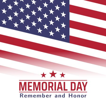 Memorial Day in USA with lettering remember and honor. Holiday of memory and honor of soldiers, military personnel who died while serving in the United States Armed forces. Vector banner Vektoros illusztráció