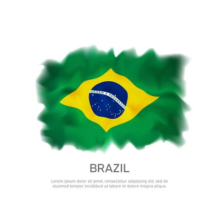 Brazil flag - on white background for creative design. Brazilian festive and patriotic poster template. Banner with the flag of brazil. Vector illustration