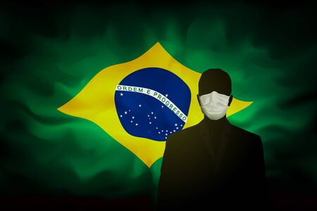COVID-19 coronavirus epidemic in brazil. Silhouette man in medical mask on a background abstract Brazilian flag. Global COVID-19 coronavirus pandemic, pneumonia. Banner design concept. Vector